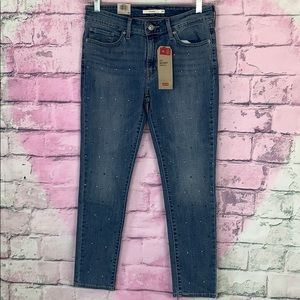 Levi's 711 skinny ankle studded jeans mid rise 29